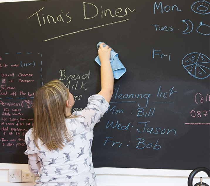 Woman-cleaning-chalkboard-wall-with-microfibre-cloth