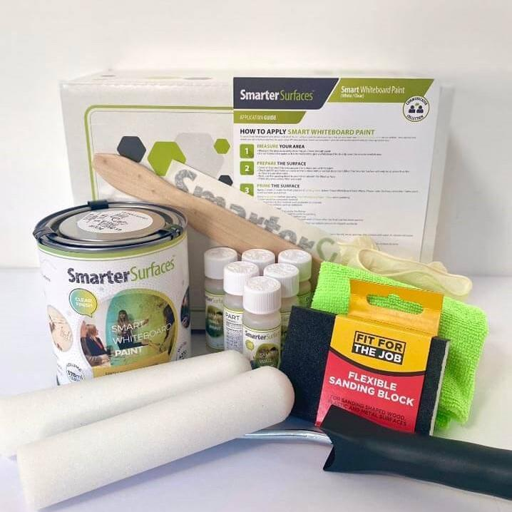smart whiteboard paint clear full kit contents with application guide