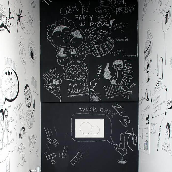 product c h chalkboard walls with writing on them using smart chalkboard paint