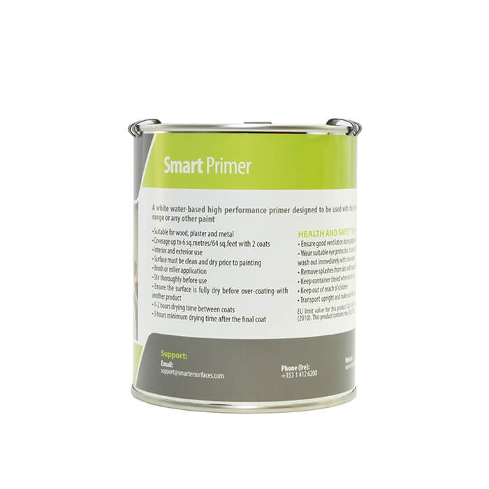 tin of white water based primer for smart whiteboard paint