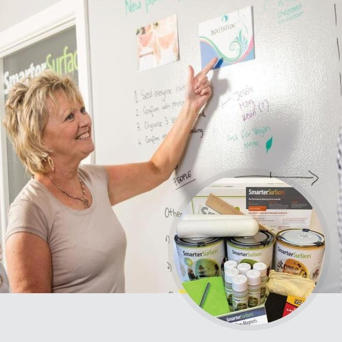 Smart-Magnetic-Whiteboard-Paint-Clear-in-use-with-kit-on-display
