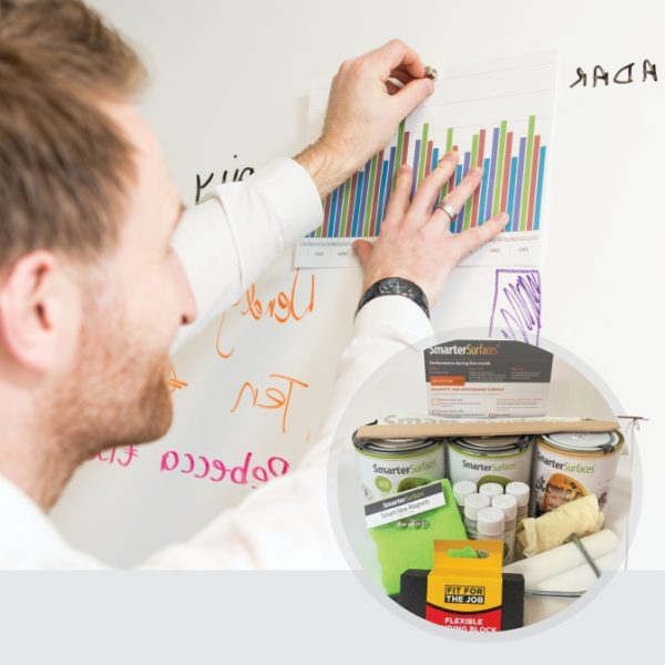 Smart-Magnetic-Whiteboard-Paint-White-in-use-with-kit-on-display