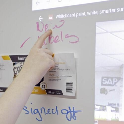 Using Smart Magnetic Whiteboard Wallpaper Low Sheen in a meeting