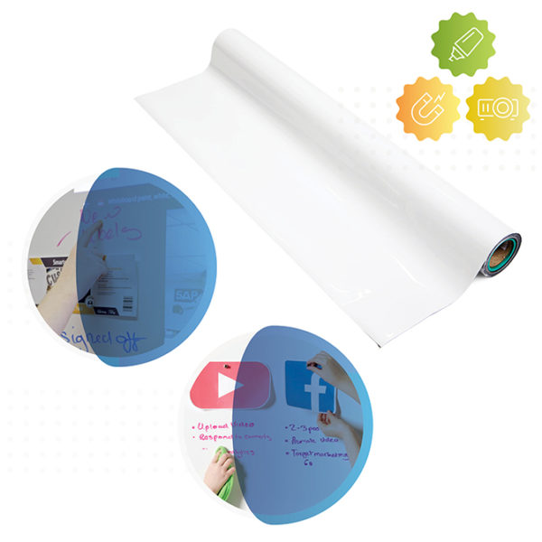 Roll of Smart Magnetic Whiteboard Wallpaper Low Sheen