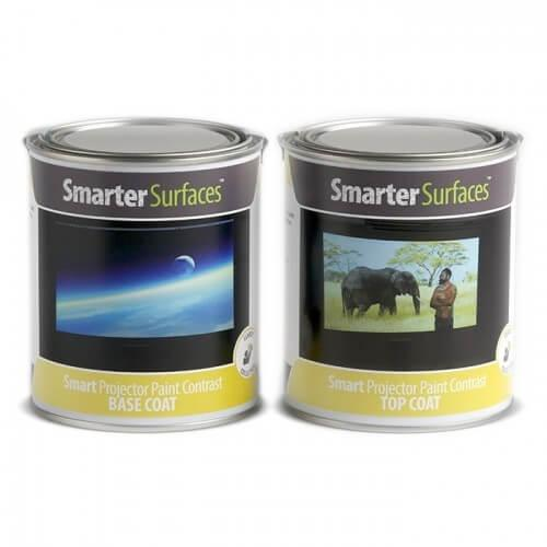 Tins of both Part A and Part B of Smart Projector Paint Contrast