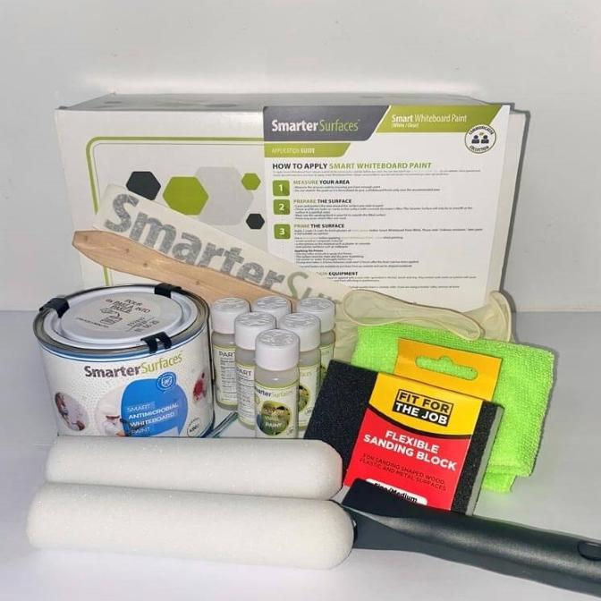 Smart Whiteboard Antimicrobial Paint full kit with application guide and tools