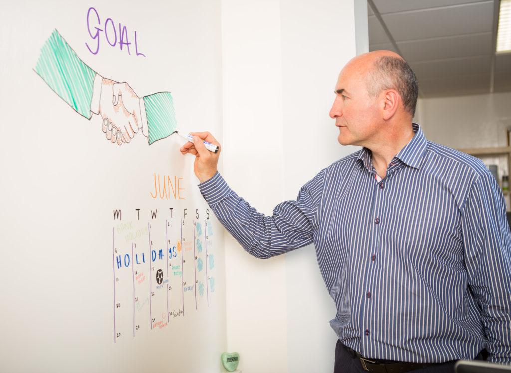 man using smart whiteboard paint white wall office wall calendar